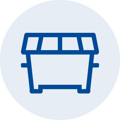 An illustrated icon showing a commercial waste bin