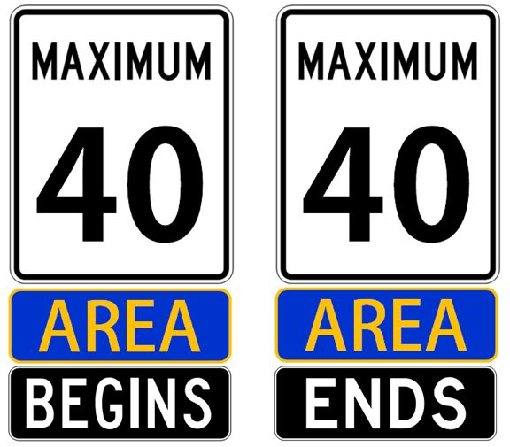"""Gateway/Boundary speed limit signs displaying """"Maximum Speed 40"""", """"Area"""" in blue and gold, with """"Begins"""" and """"Ends"""" tabs below"""