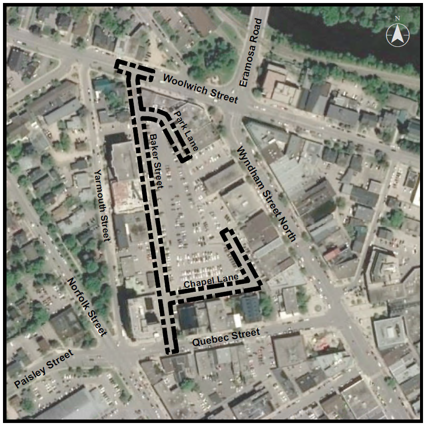 An aerial map of the reconstruction and redesign area. At the top of the map Eramosa Road meets Woolich Street and at the bottom of the map Baker Street meets Quebec Street. . A dotted line shows the area of reconstruction from Woolwich Street to Baker Street and Park Lane and Chapel Lane sourrounding the Baker Street parking facility.