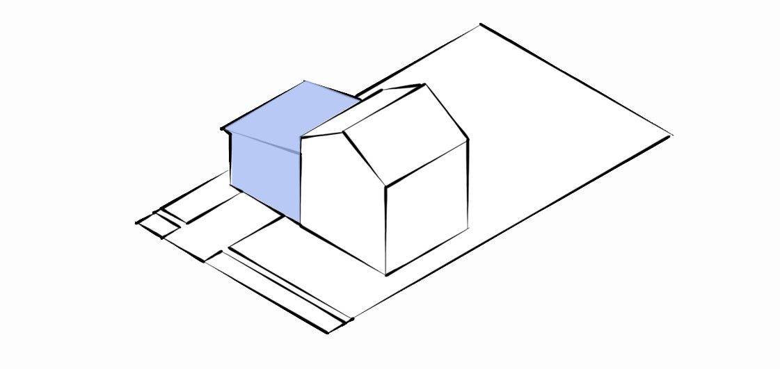 A diagram of a medium sized one-storey dwelling attached to a two-storey house facing a street.