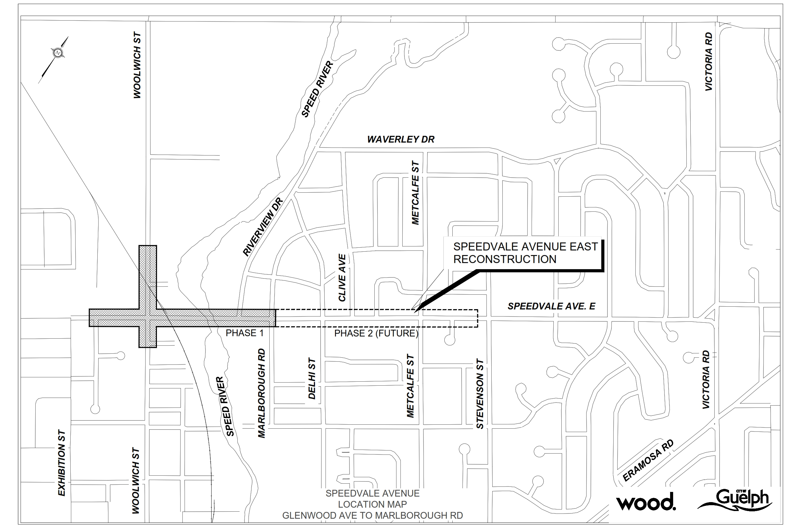 Map of construction zones in Phase 1 and Phase 2 of the Speedvale construction project