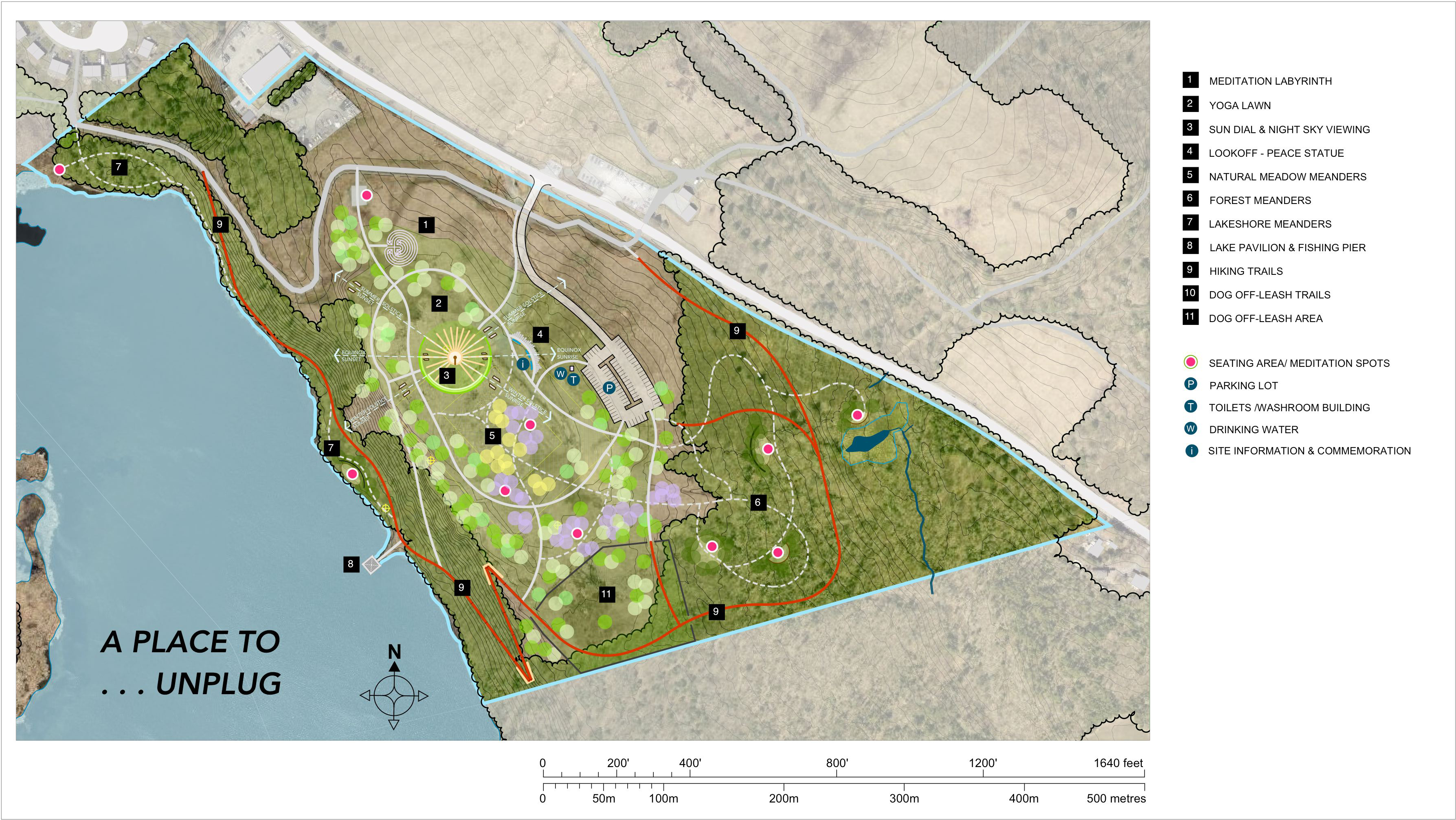 This is an image of the site plan for concept three, a place to unplug.