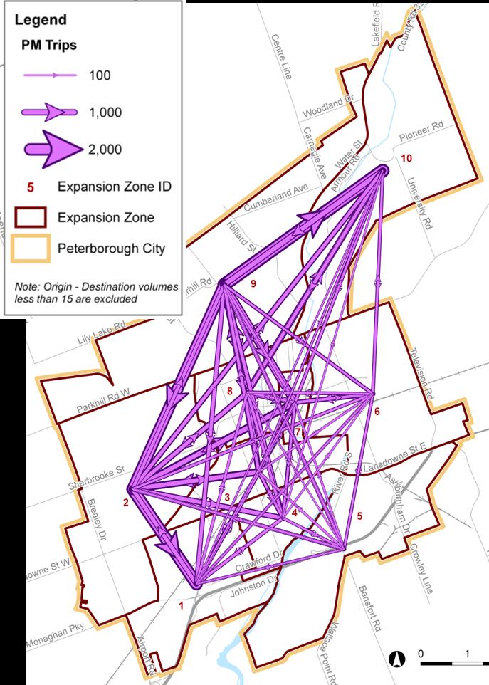 Map of transit network showing patterns