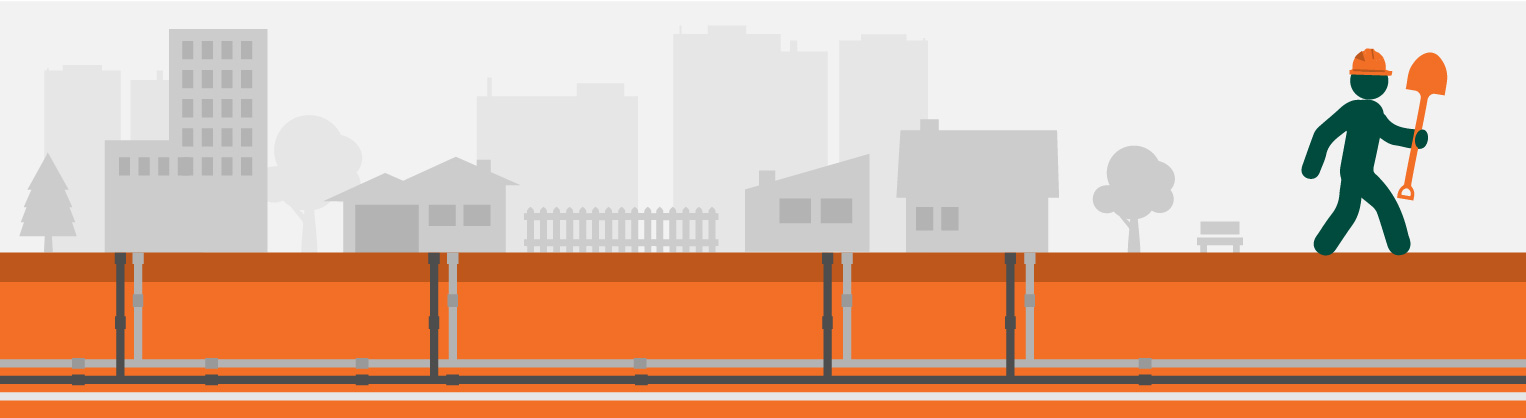 Graphic of construction worker walking down residential street