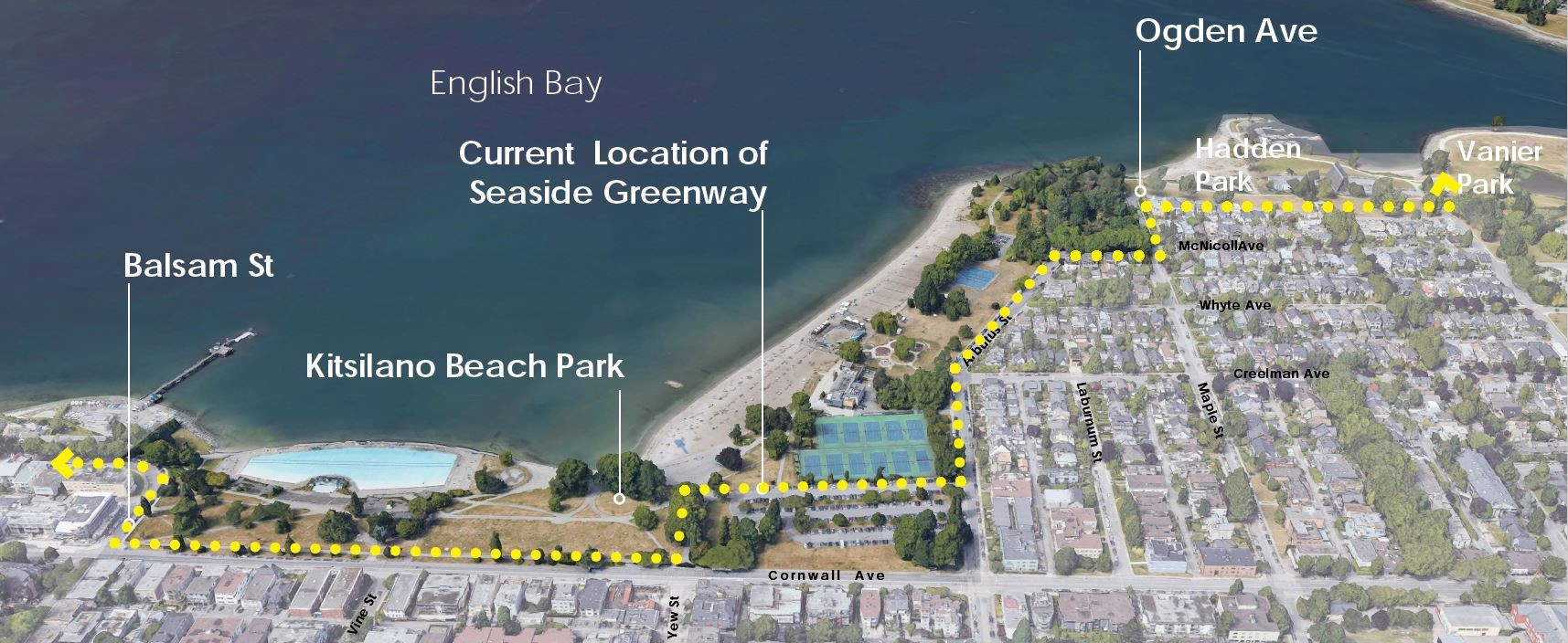 Aerial view of Kitsilano Beach Park showing the current route of the pathway from Balsam Street to Ogden Avenue in a dotted yellow line.