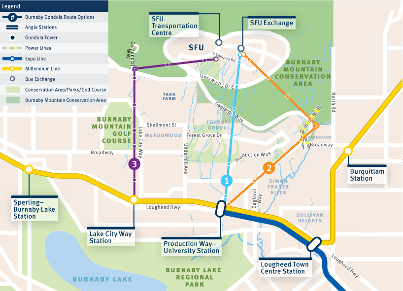 Map of the three proposed gondola routes from SkyTrain stations to the top of Burnaby Mountain