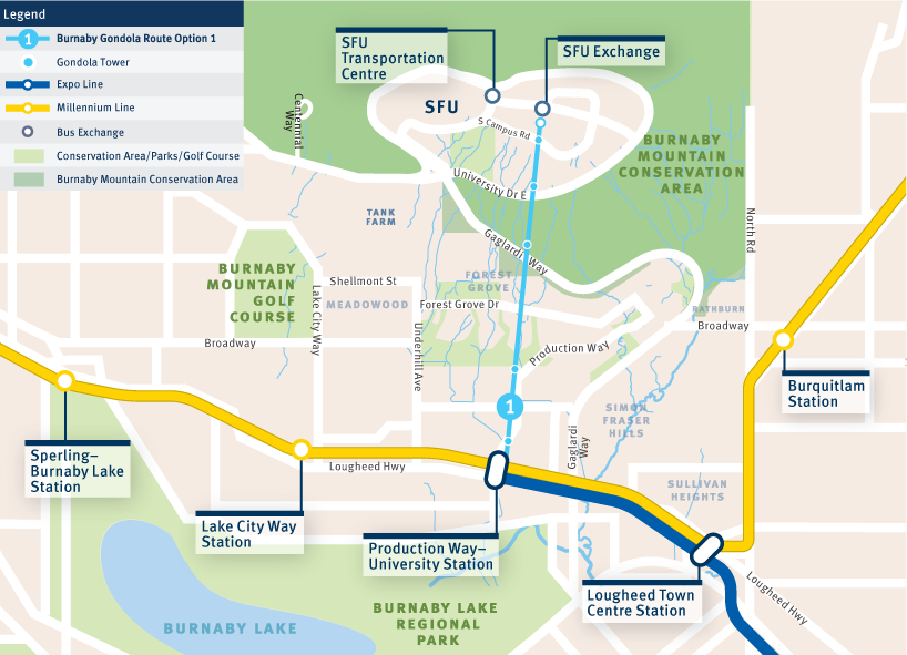Map of a straight gondola route from Production Way-University Station to the top of Burnaby Mountain
