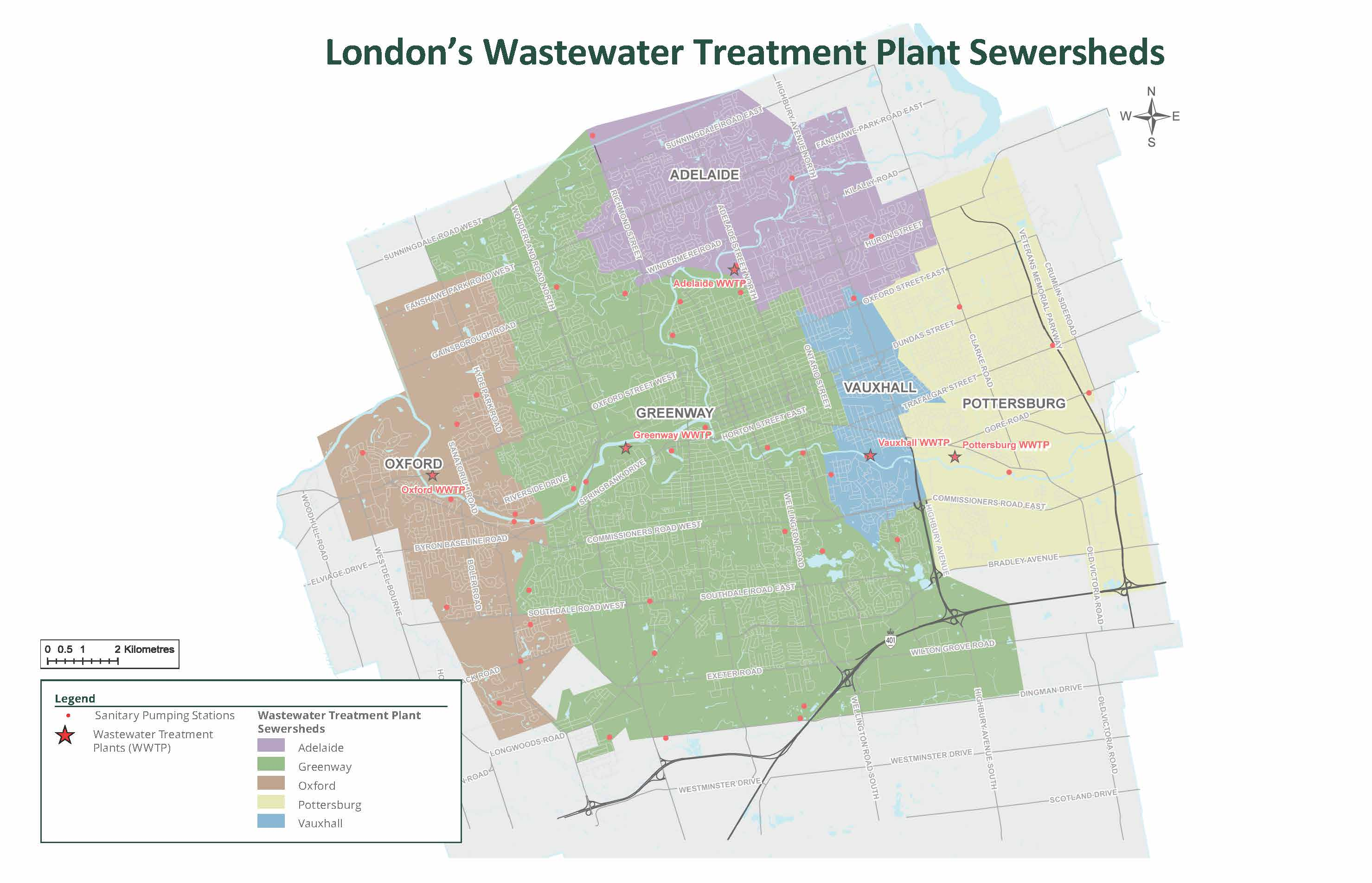 A map of five London's sewersheds.