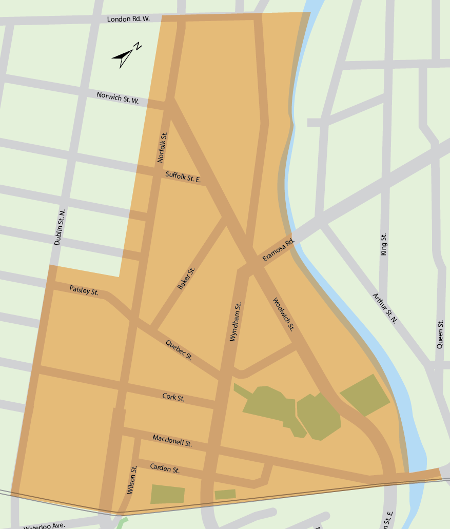Project study area showing the river, London road, Dublin St N. and the train tracks as the main boundaries
