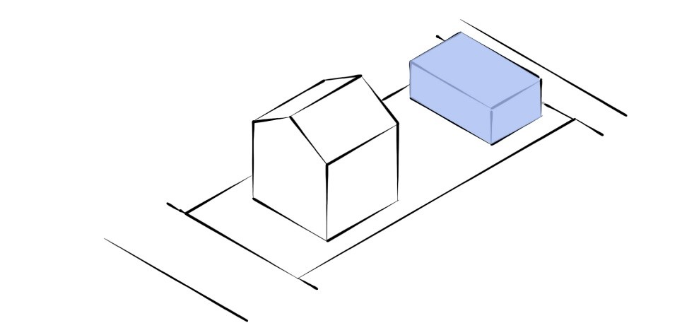 A diagram of a medium sized one-storey dwelling that is independent and located at the rear of a property facing a laneway.