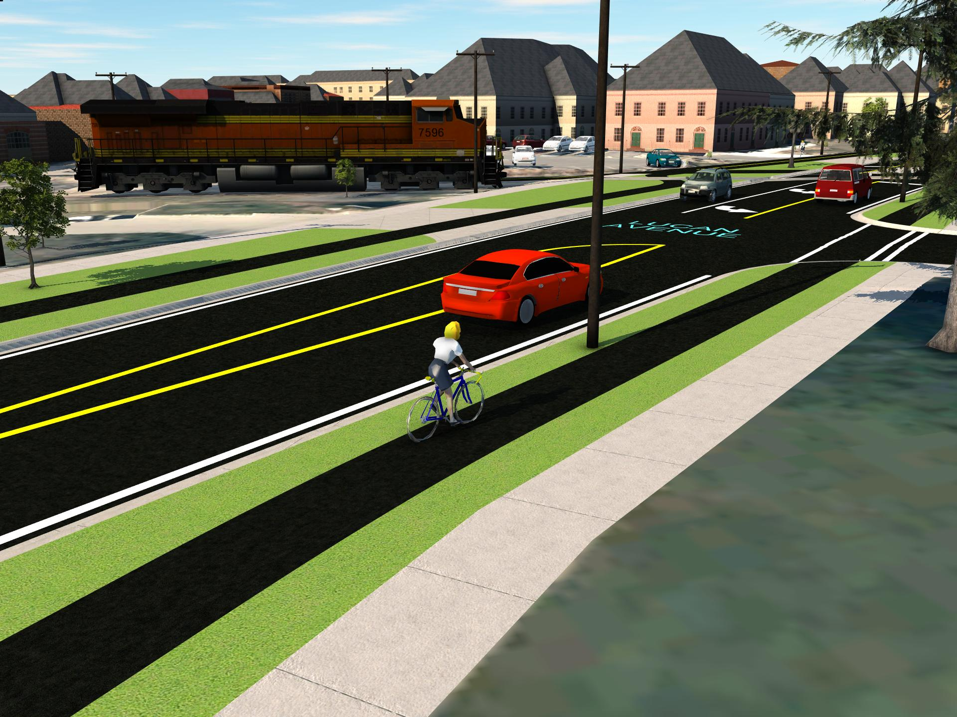 Graphic showing a two-lane road, with grass boulevard, cycle track, another grass boulevard and sidewalk on either side.