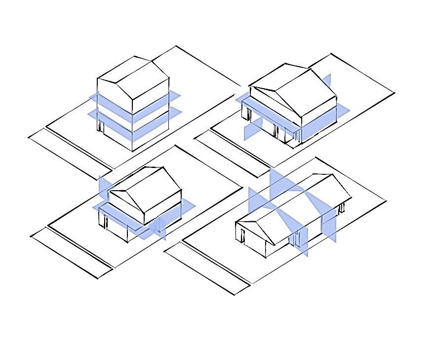 A diagram of two (2) different dwelling unit arrangements in a triplex