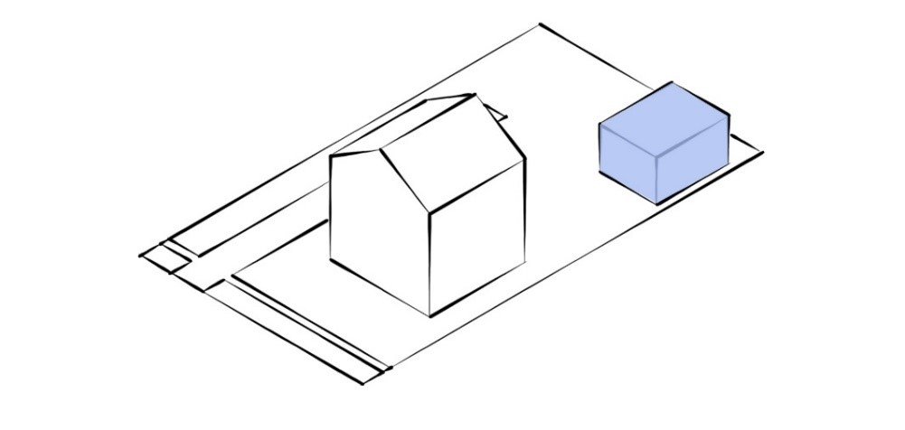 A diagram of a small one-storey detached dwelling located at the rear of a property with a main house in the front.