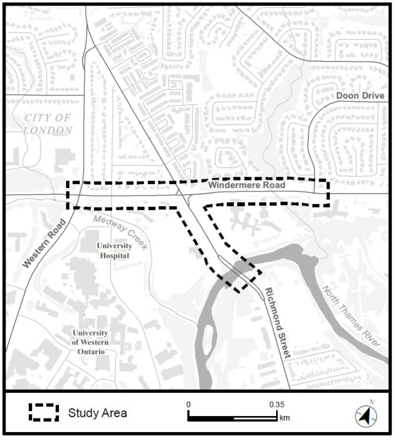The the Windermere Road Environmental Assessment Study Area. For more information, please contact Paul Yanchuk at pyanchuk@london.ca