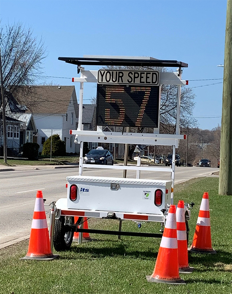 The Town's traffic monitoring trailer displaying a speed of 57 kilometres an hour.