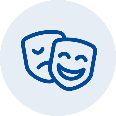 An illustrated icon of the comedy/tragedy masks
