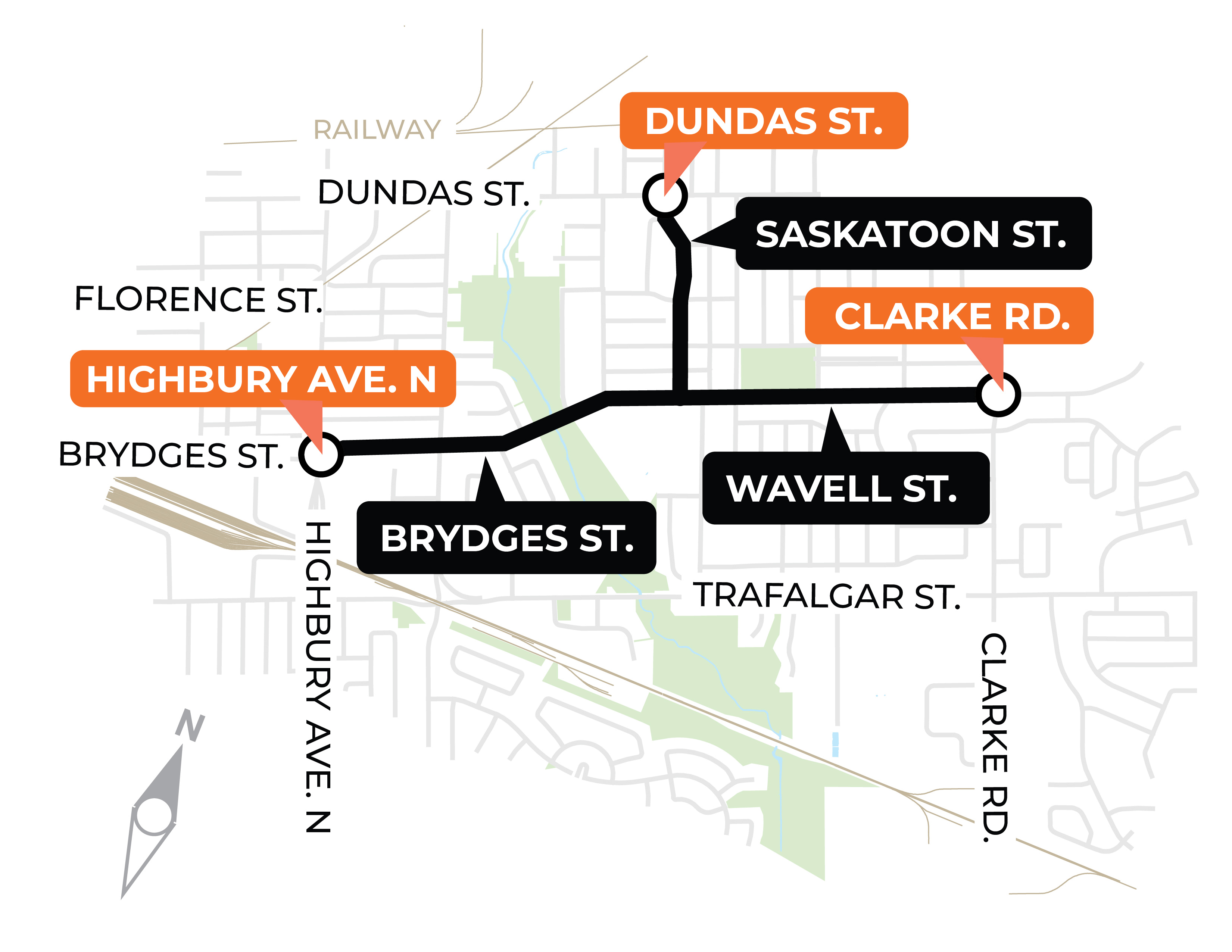 The City will be making improvements on Brydges Street and Wavell Street between Highbury Avenue North and Clarke Road. Work will also take place on Saskatoon Street between Wavell Street and Dundas Street. For more information, please contact Trevor Hitchon at thitchon@london.ca or by calling 519-661-2489 x 5925