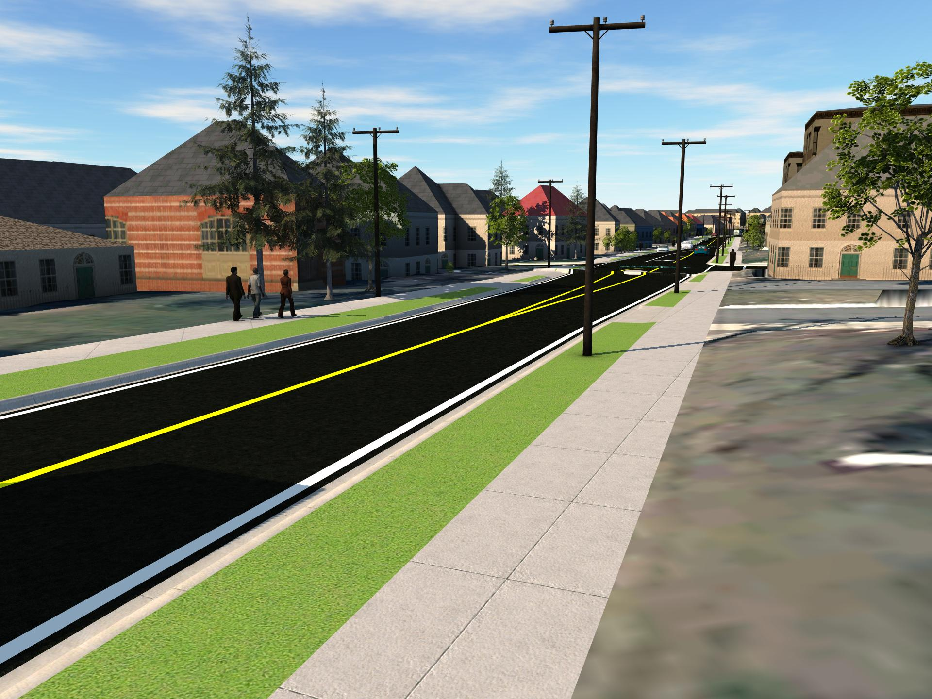 Graphic showing a two-lane road, with grass boulevard and extra wide sidewalk on either side.