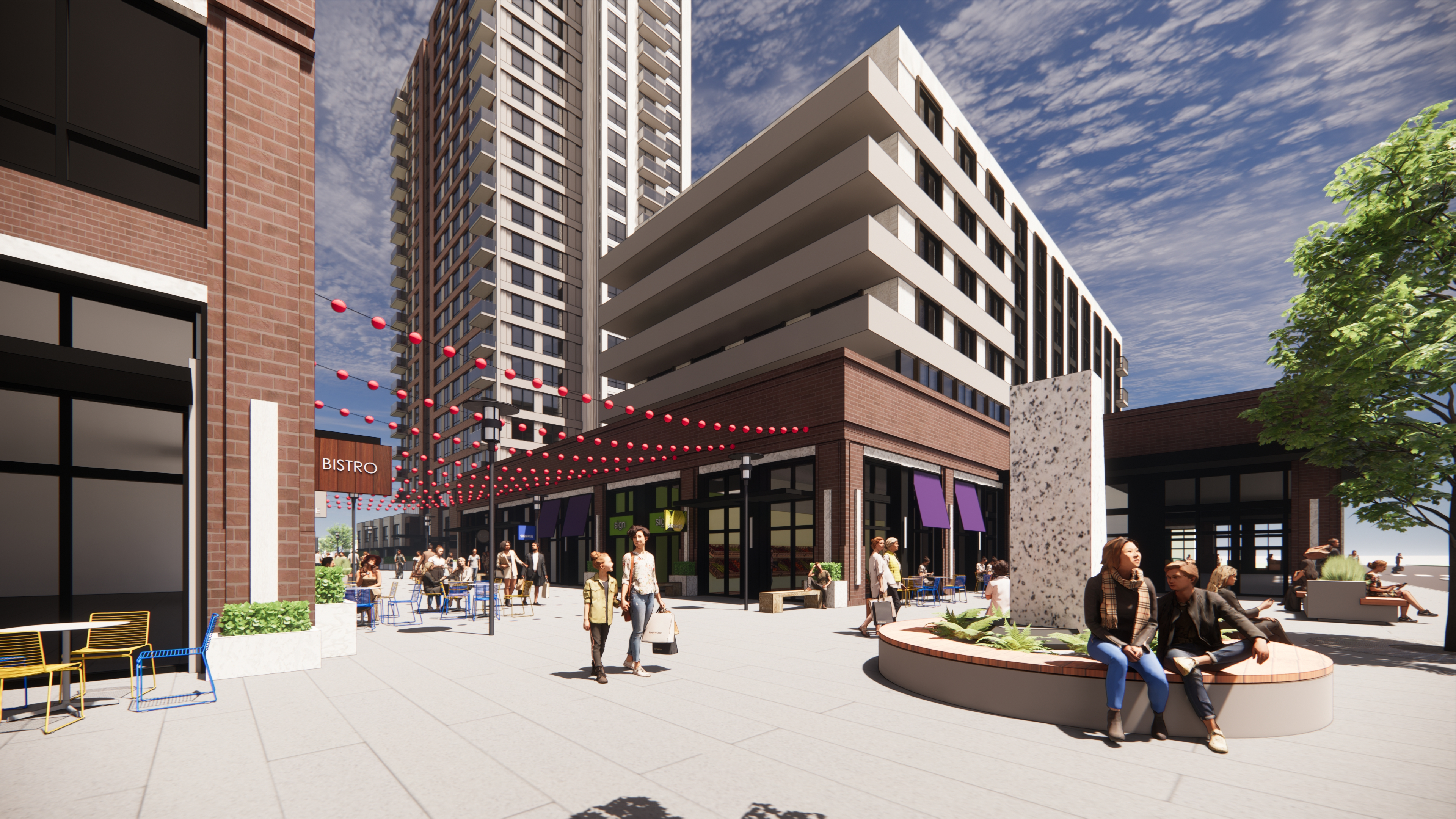 A colour rendering of the street level view of the plaza area with retail businesses with the site towers in the background