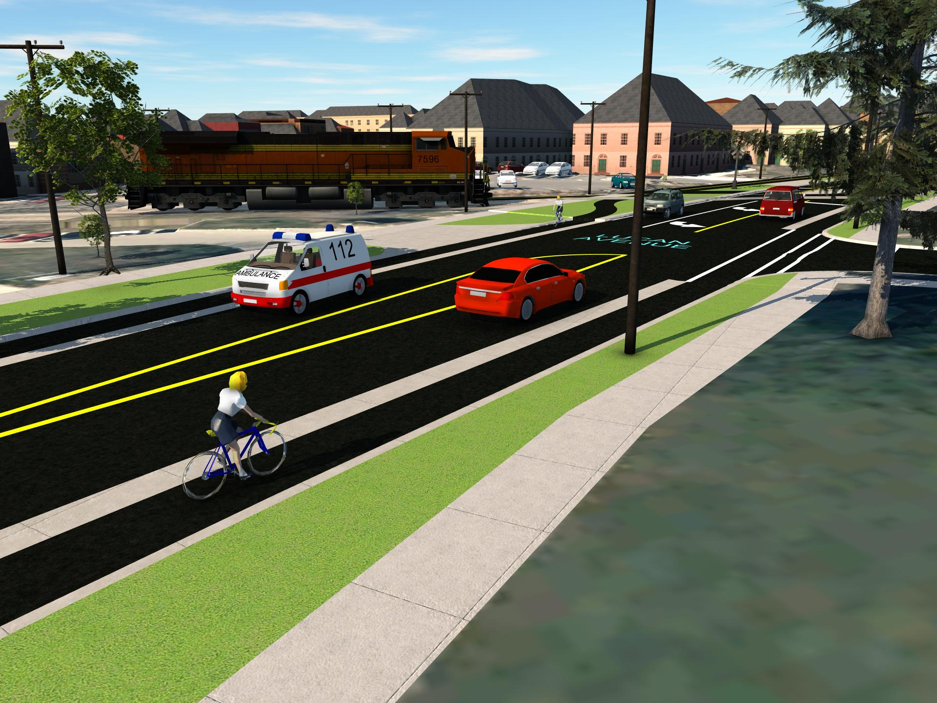 Graphic showing a two-lane road, with separated cycle tracks, grass boulevard and sidewalk on either side.