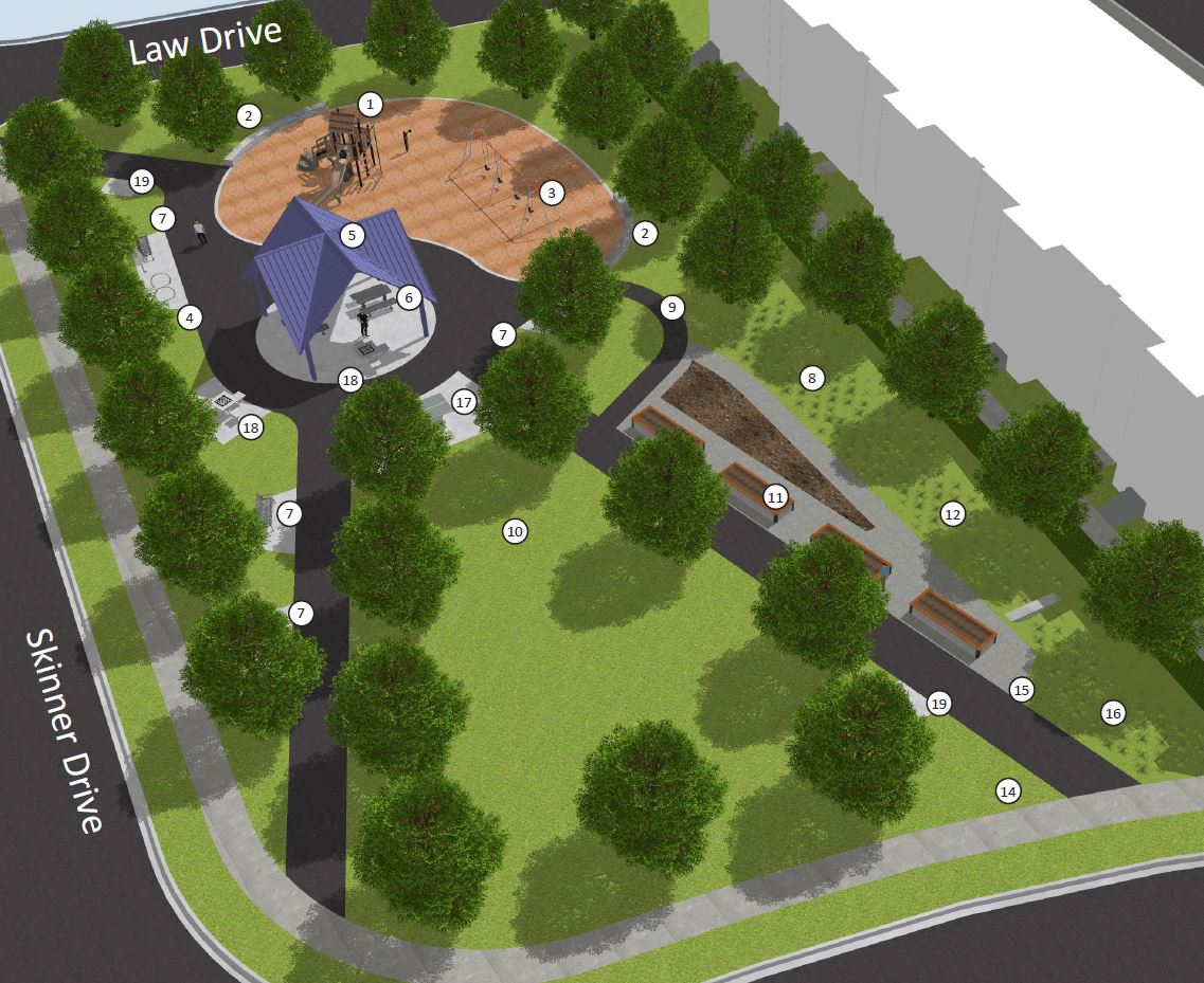 overhead view of park design showing open lawn area, adjusted community garden location, playground and paths
