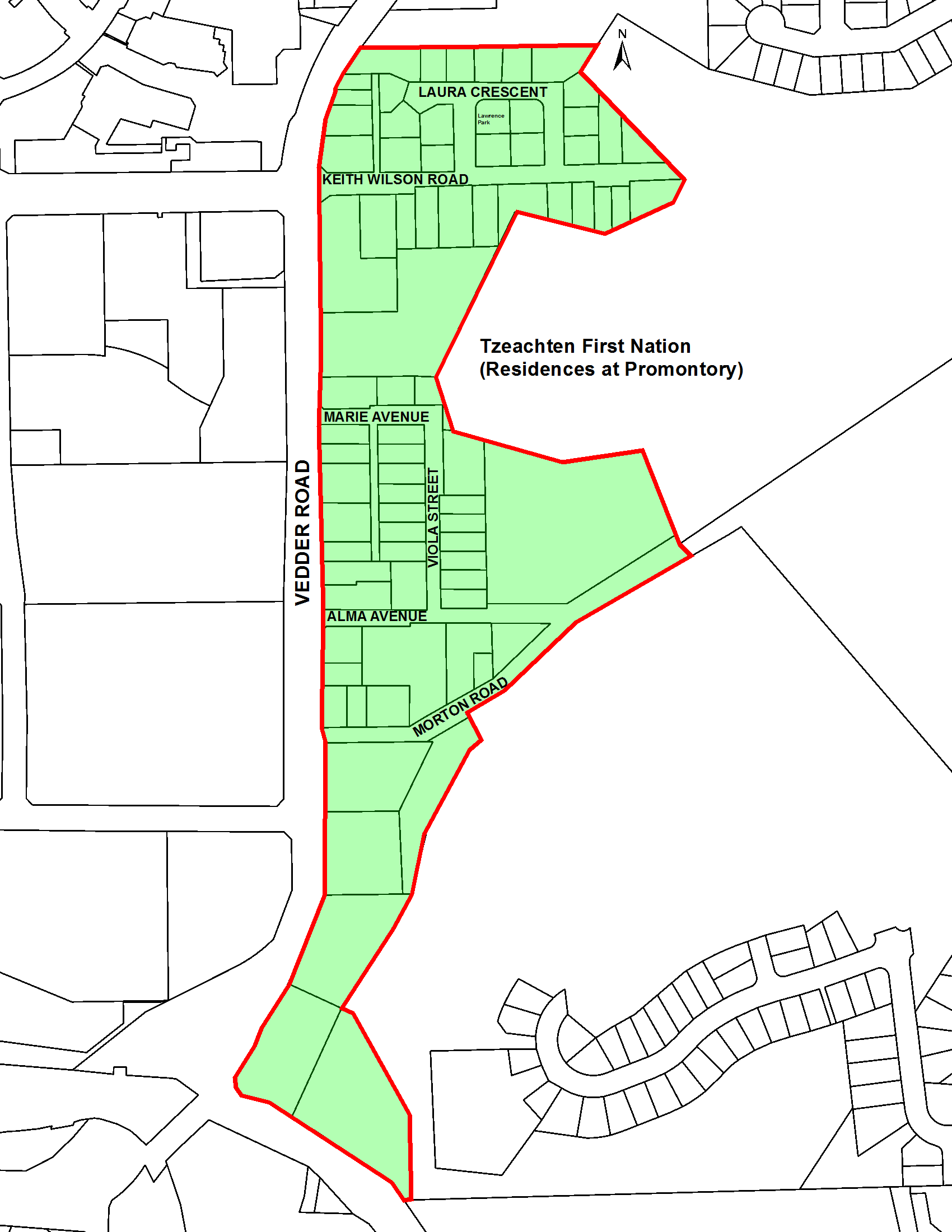 Map of South Vedder Neighbourhood Plan area
