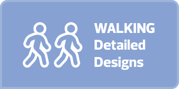 "Light blue rectangular button with white text and an outline drawing of two stick figures walking together on it that says ""Walking Detailed Design."" If the button is clicked a webpage with a flipbook of the walking and sidewalk designs for Garneau is opened in a new browser tab."