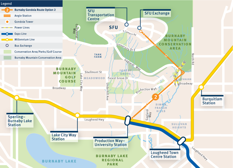 Map of an angled gondola route from Production Way-University to the top of Burnaby Mountain