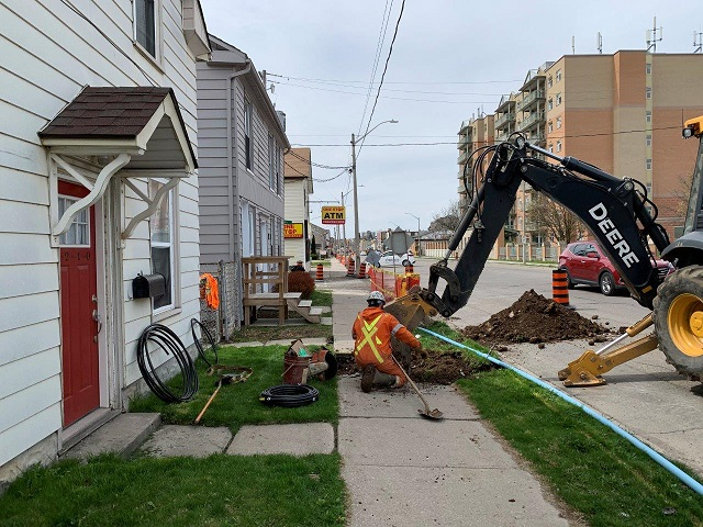 Crews making connection to temporary watermain