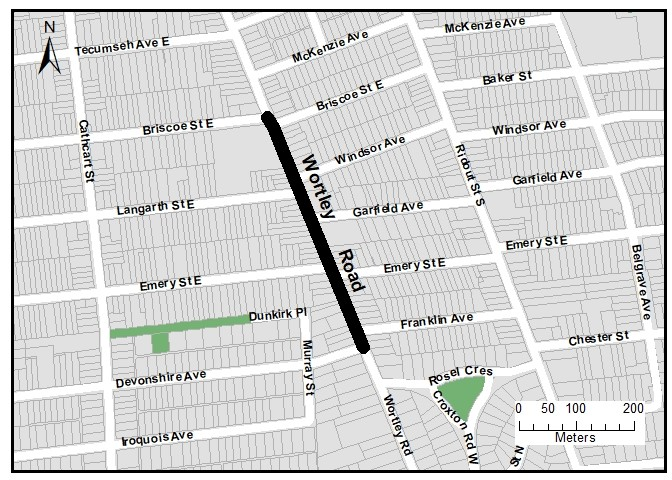 The map below shows the project limits on Wortley Road, from Briscoe Avenue (East Leg) to Devonshire Avenue. For more information, please contact Doug Harron at dharron@london.ca or by phone at 519-661-2489 x 4987.