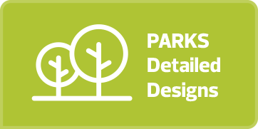 "Lime green rectangular button with white text and an outline drawing of two trees on it that says ""Parks Detailed Design."" If the button is clicked a webpage with a flipbook of the playing parks and open spaces designs for Garneau is opened in a new browser tab."