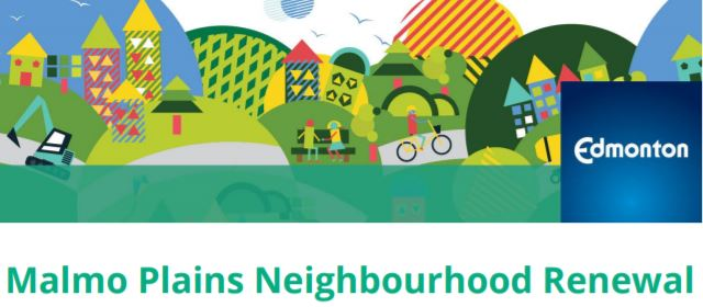 image of a neighbourhood with the text Malmo Plains Neighbourhood Renewal that links to the lastest newsletter
