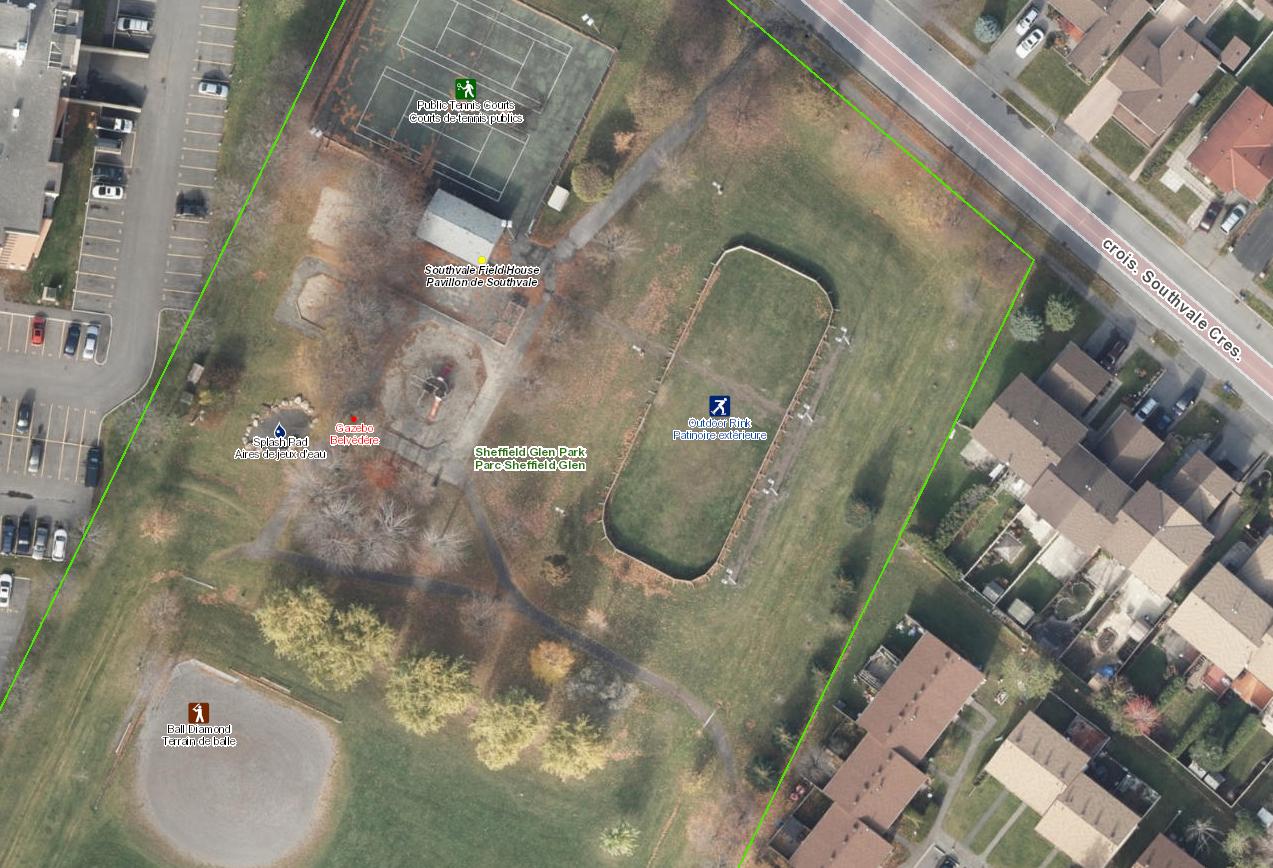 Aerial photo of Sheffield Glen Park