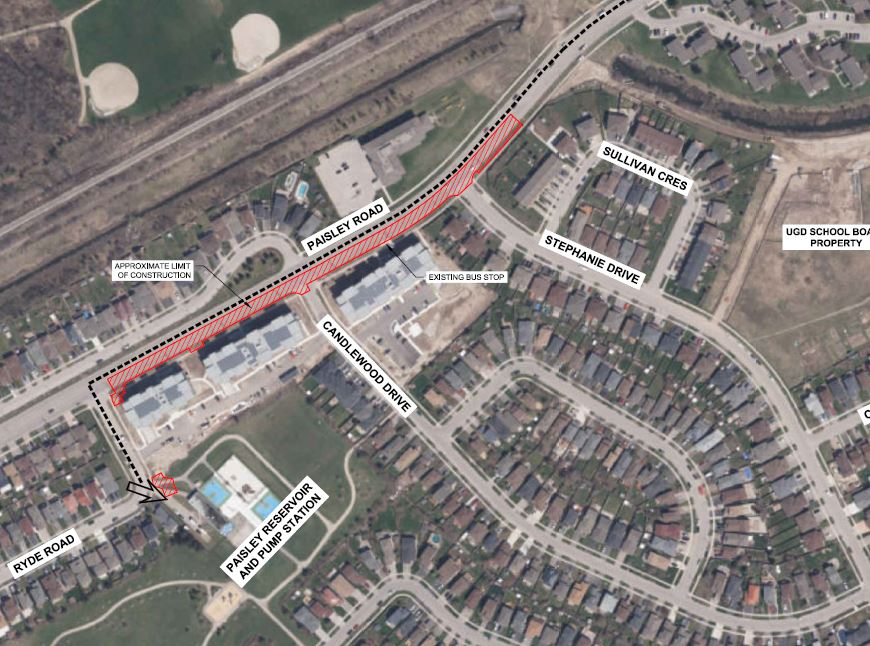 A map of the construction area showing a red hatched area along paisley road beginning at Ryde Road and continuing past Candlewood drive and ending just past Stephanie drive.