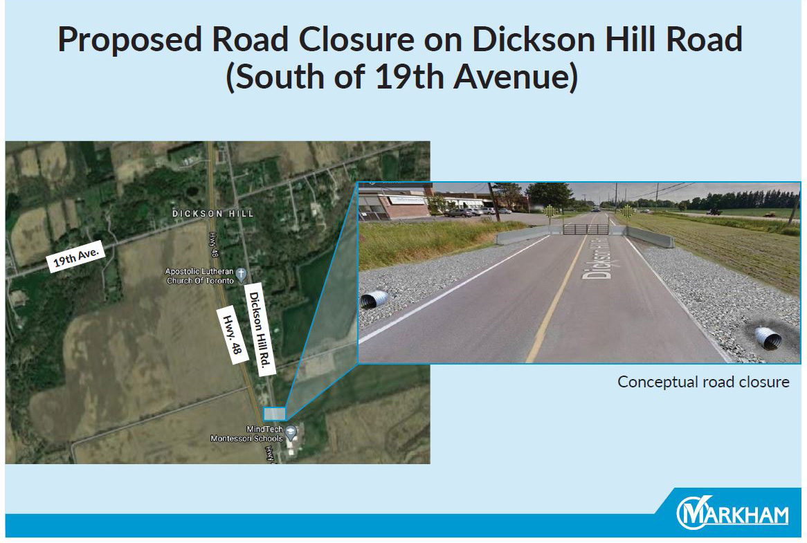 Proposed Road Closure on Dickson Hill Road Map and Photo