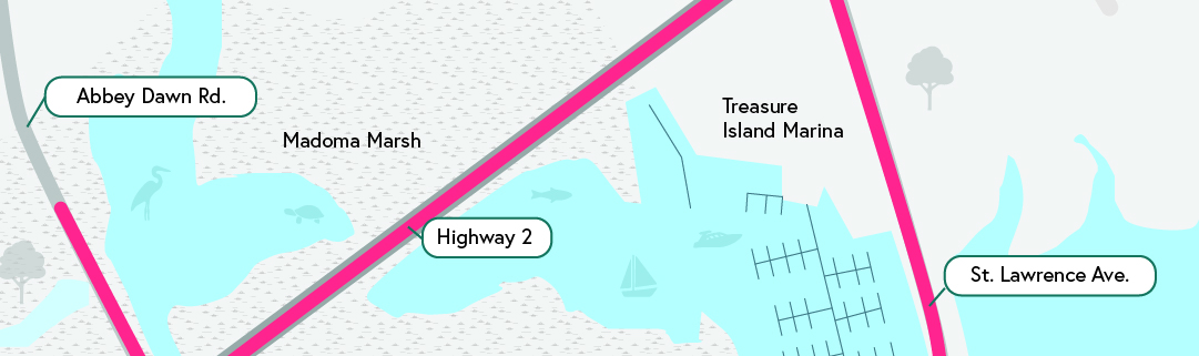 Illustration of project area shows Madoma Marsh, Treasure Island Marina and related roadways