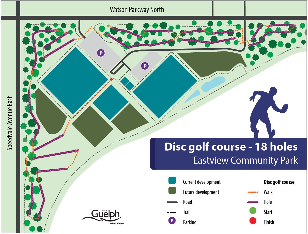 Map of Eastview Community park showing the proposed layout of the disc golf course, primarily throughout the treed areas along Speedvale and Watson Parkway