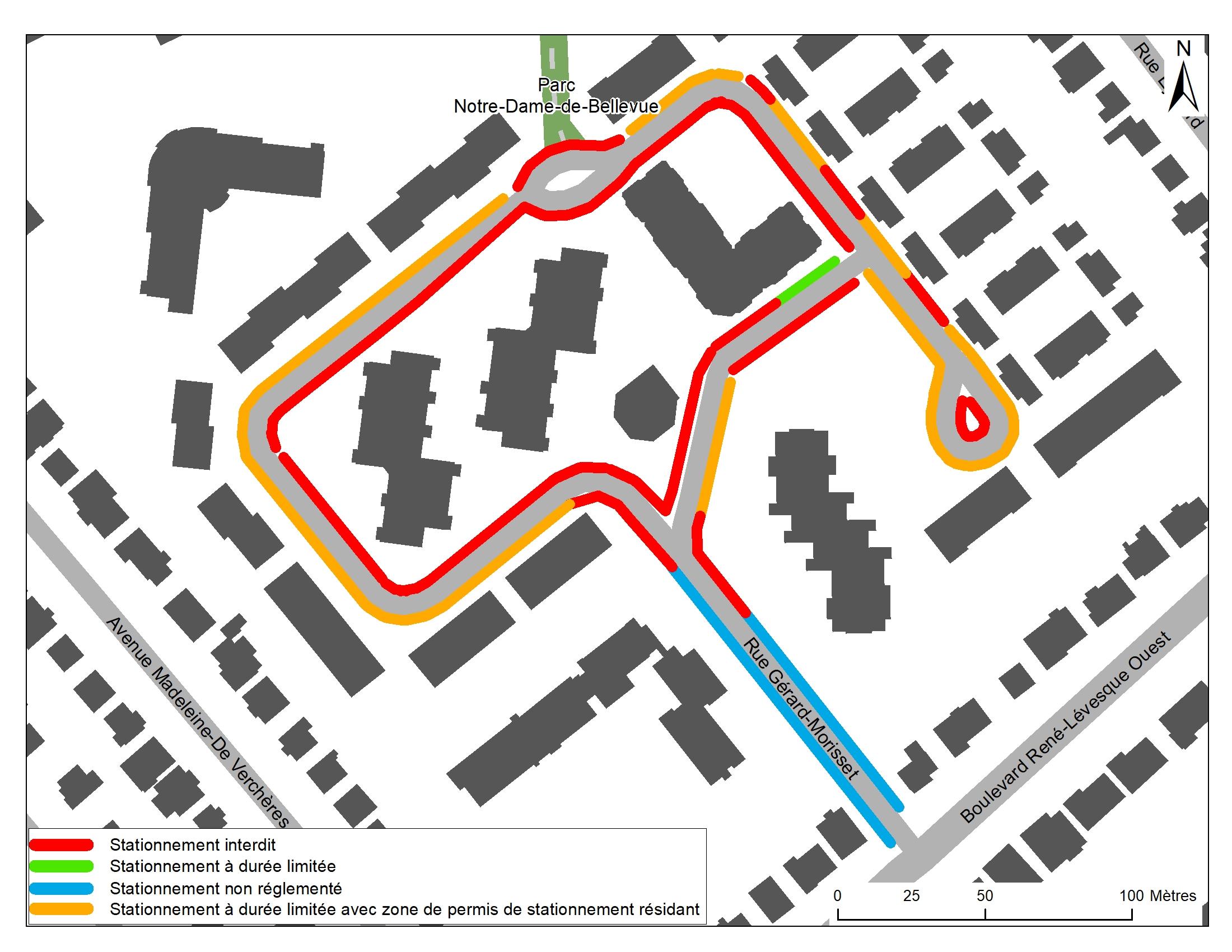 Option 3 : : Permis de stationnement sur rue au pourtour et stationnement interdit à l'intérieur de la boucle