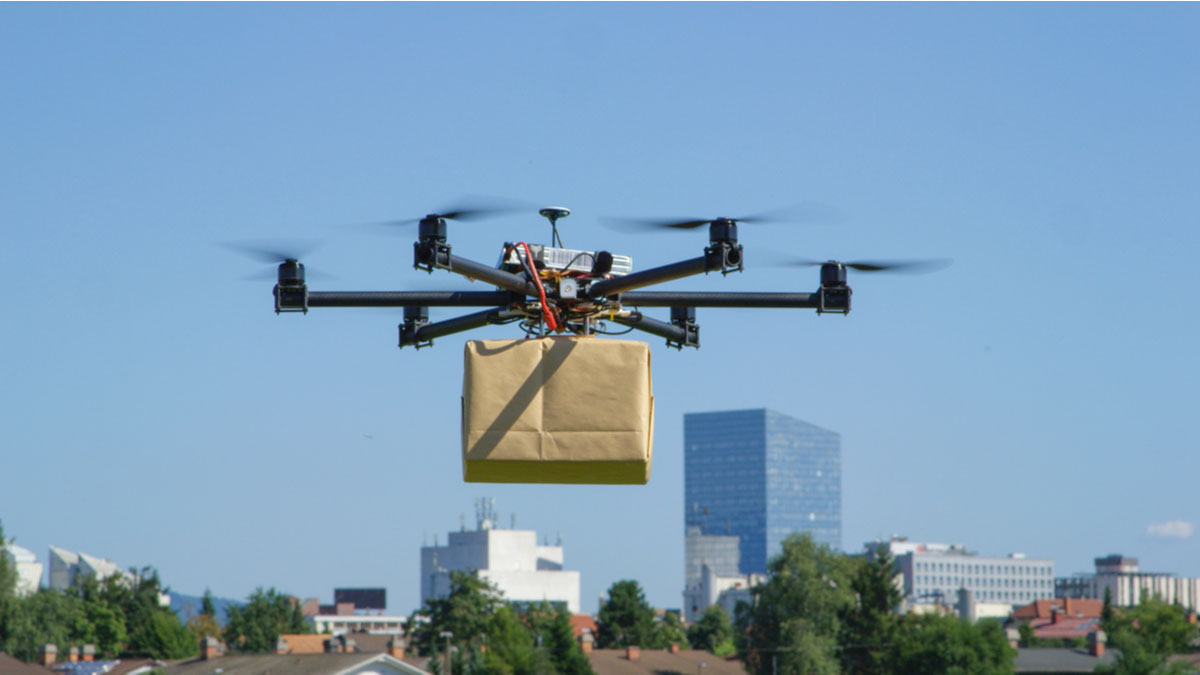 Drone carrying a package