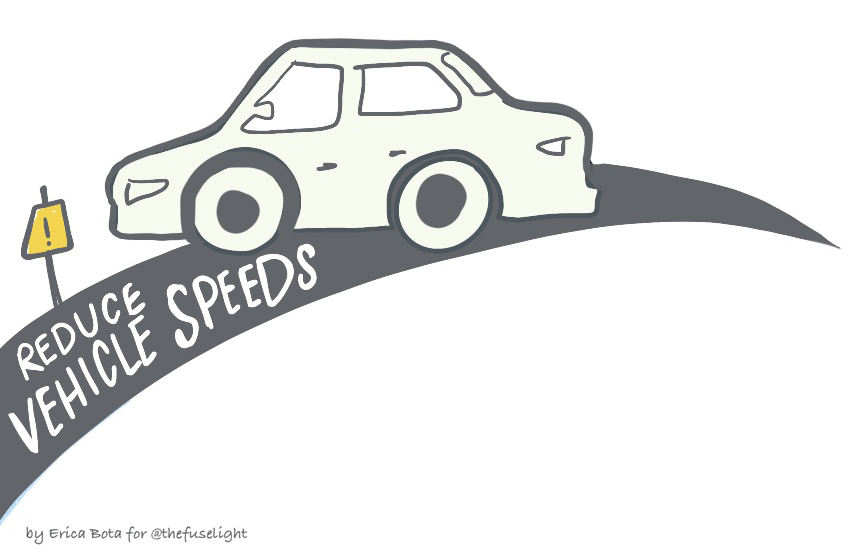 """Icon of a car that reads """"Reduce Vehicle Speeds"""""""