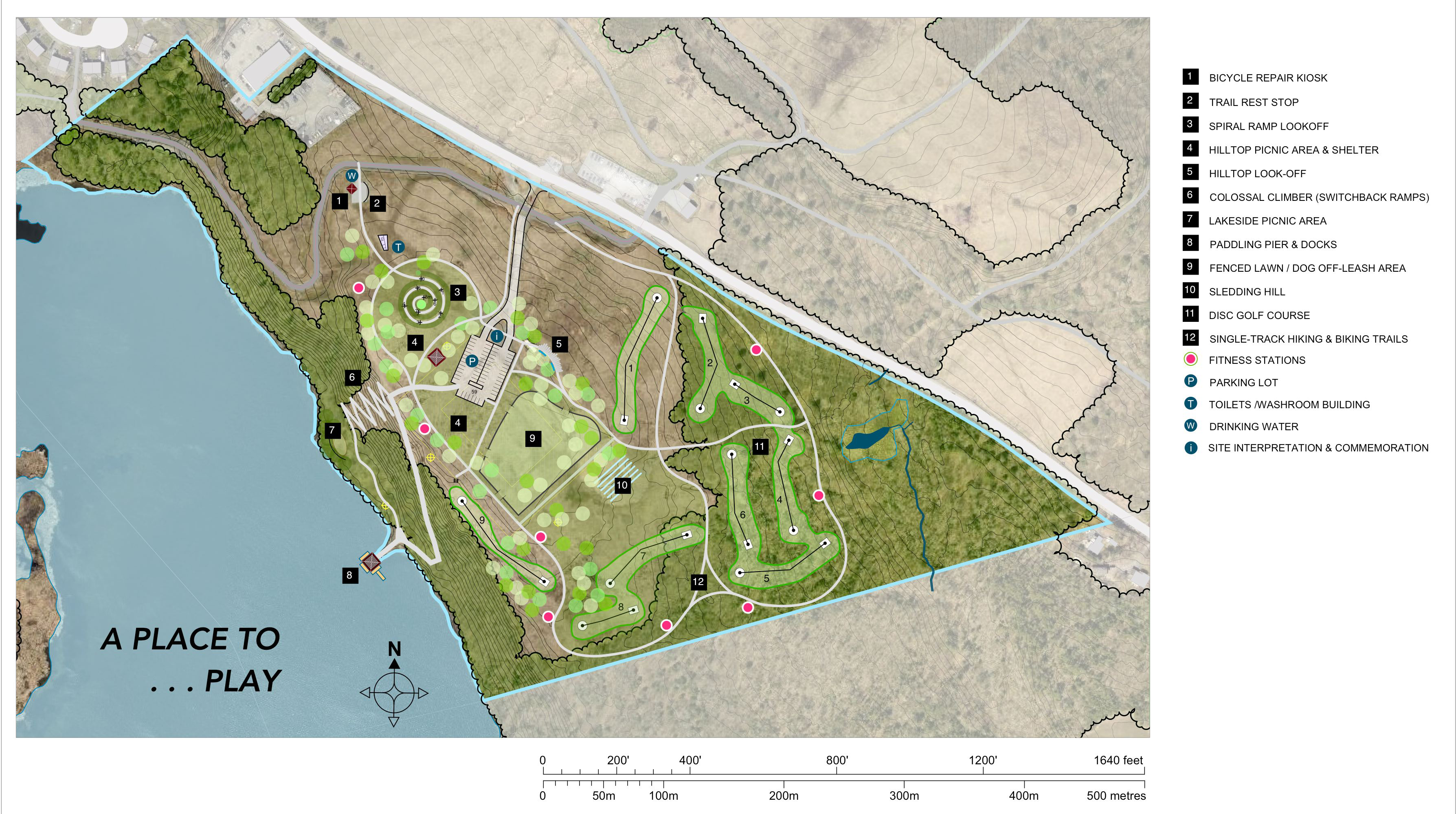 This is an image of the site plan for concept one, a place to play