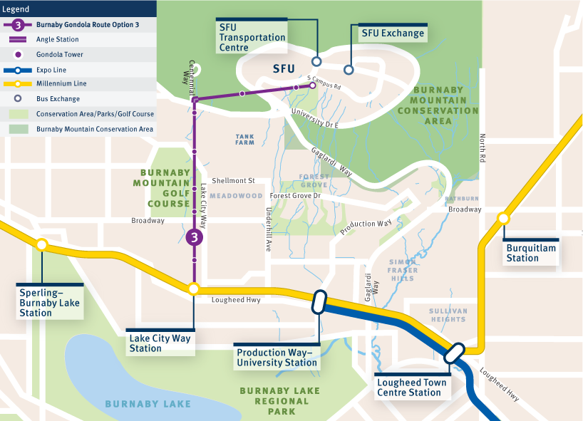 Map of an angled gondola route from Lake City Way SkyTrain station to the top of Burnaby Mountain