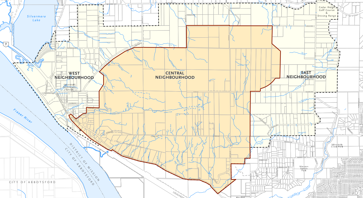 A map showing the Central Neighbourhood Planning Area