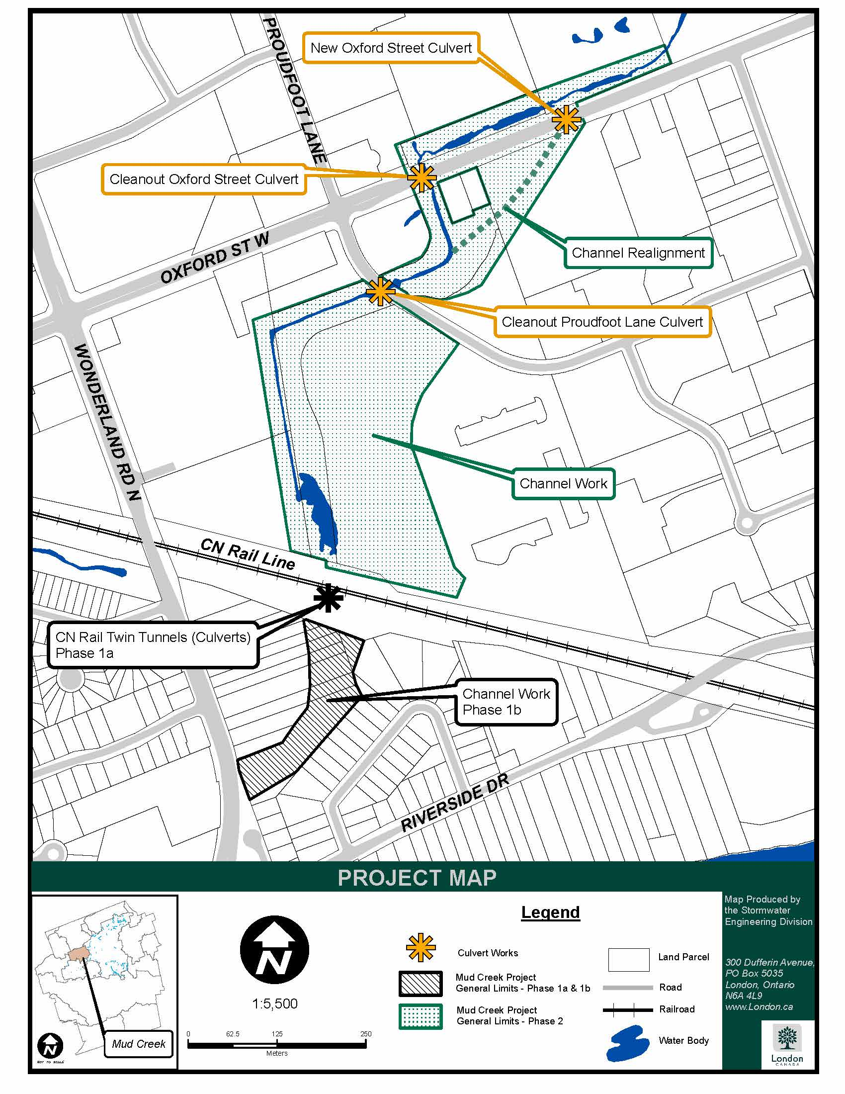 A map of mud creek. For more informtaion or assistance, please contact Paul Titus as PTITUS@London.ca