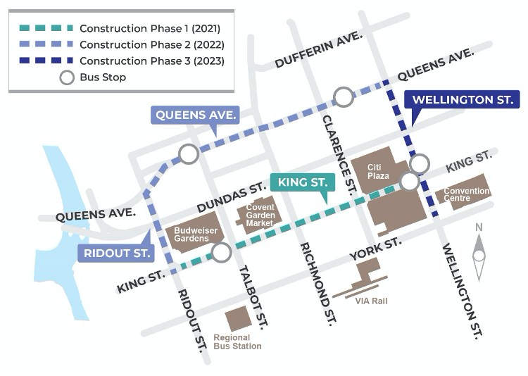 The Downtown Loop, which will frame Dundas Place, running buses along Queens Avenue, King Street, Ridout Street, and Wellington Street, is scheduled for phased construction from 2021 to 2023. For more information, please contact Jennie Dann at jdann@london.ca or by calling 519-661-2489 Ext. 5823