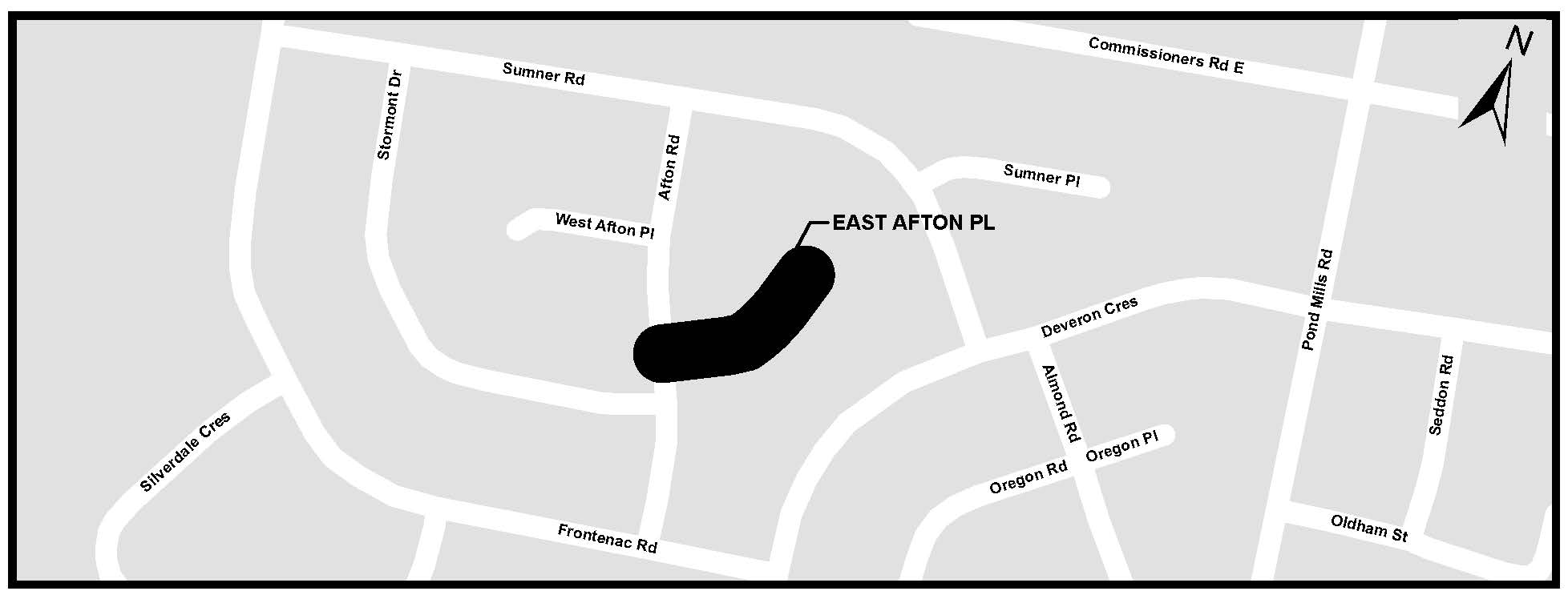 A map of East Afton Place. For more information, assistance, or to ask questions, please contact Kyle Fairhurst at kfairhur@london.ca