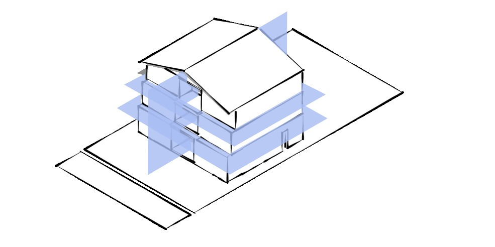 A diagram of a multiplex four-storey building with eight (8) separate living units.