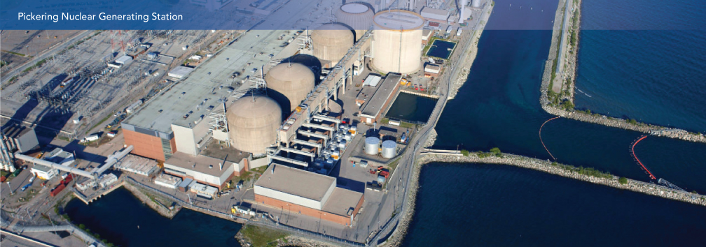 An aerial photograph of the Pickering Nuclear Generating Station.