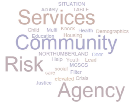 Word cloud that says situation, acutely, table, services, child, multi, knock, health, demographics, education, housing, community, northumberland, door, help, youth, lead, MCSCS, social, filter, care, risk, elevated, crisis, justice, agency
