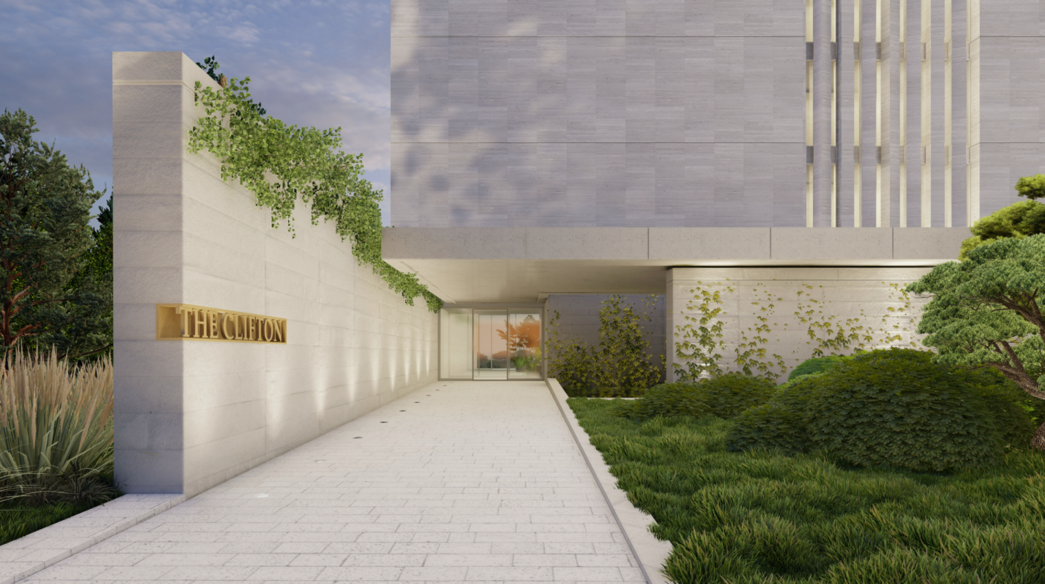 A project rendering of a building entranceway up close, at ground level looking towards the front door with a wall along the left side, leading to the door